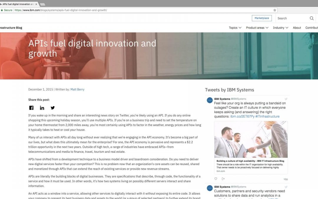 Executive byline: APIs fuel digital innovation and growth