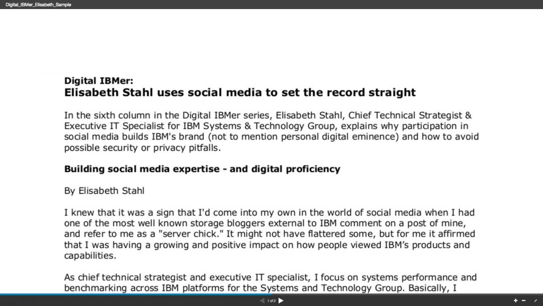 Employee communications piece: Digital IBMer: Elilzabeth Stahl uses social media to set the record straight