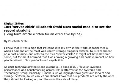 Employee communications piece: Digital IBMer: Elilzabeth Stahl uses social media to set the record straight