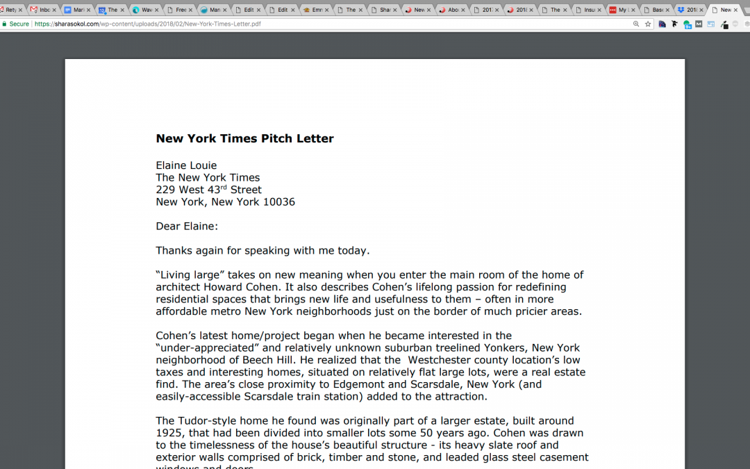Howard Cohen, Architect, Pitch Letter to NYT
