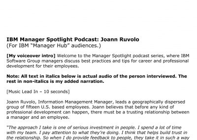 Employee Podcast Script